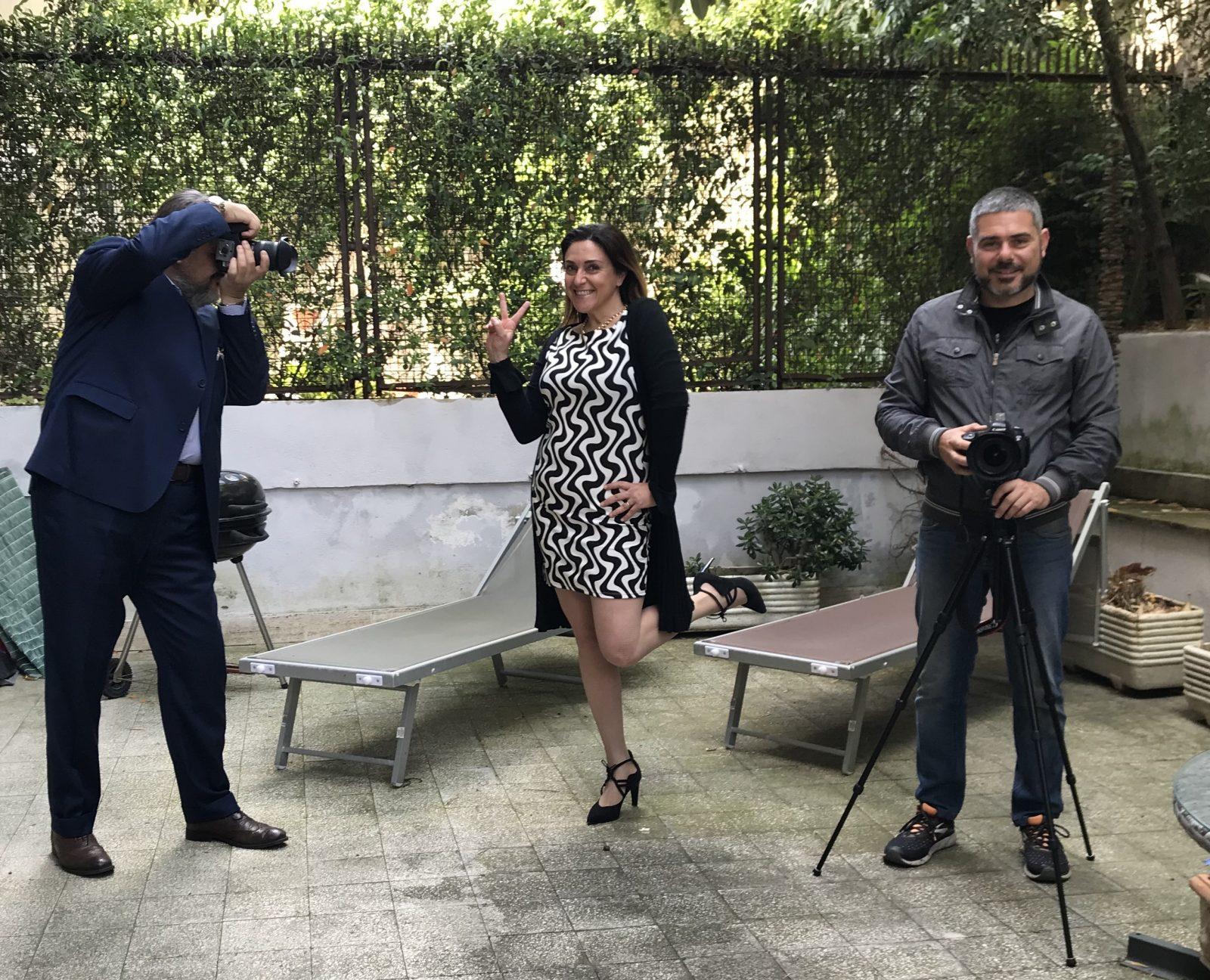 Silvia Rossi con i fotografi Alessandro Bracci e Luca Tranquilli