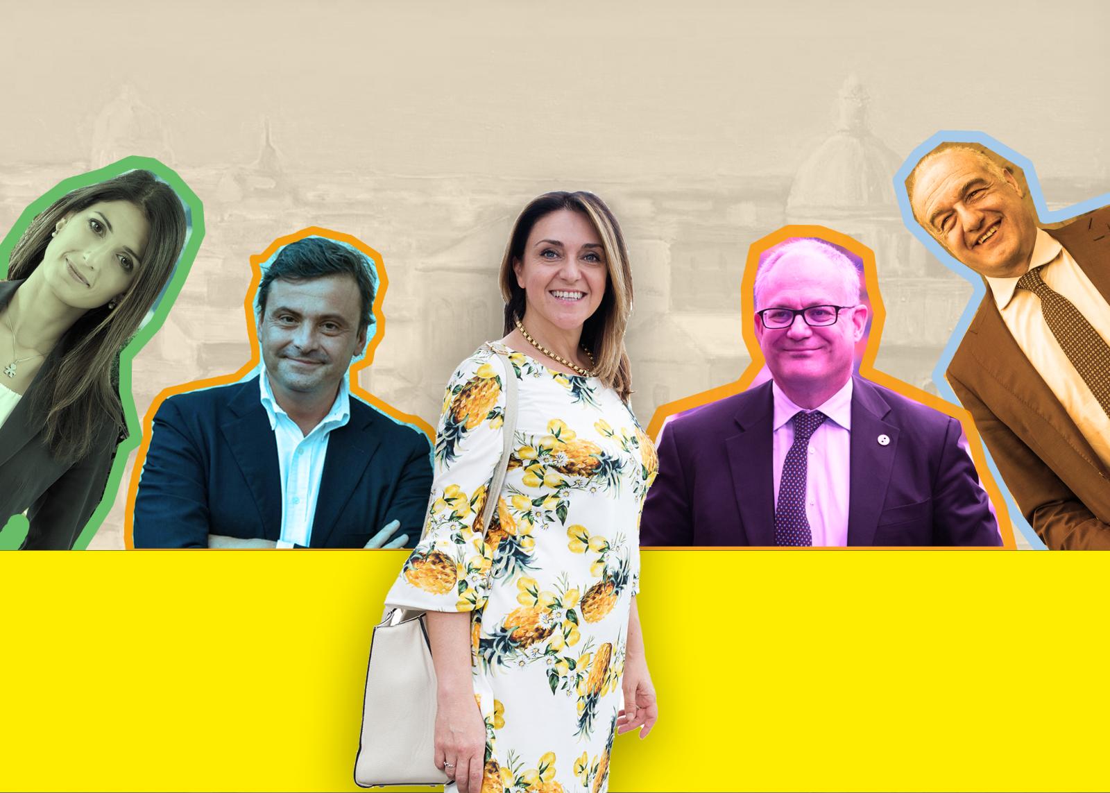 Silvia Rossi e i 4 candidati sindaci: Calenda, Raggi, Gualtieri, Michetti